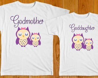 Godmother Goddaughter Owls - Matching Shirts - Godmother Gift - Goddaughter Gift