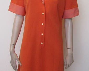 Lovely Orange Vintage Day Dress - Size 14 - 70s
