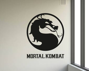 Mortal Combat Wall Decal - Mortal Kombat Symbol Decal - Dragon Vinyl Stickers - Gothic Style - Fantasy Home Interior Design Art Mural - GS21