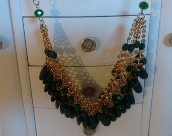 Dark Green Bib Necklace:  Lots of Detail on this one.