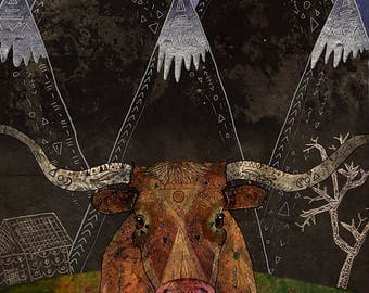 STARRY NIGHT 8x11 Fine Art Print // Texas Longhorn, Cow Illustration, Cow Art Print, Western, Mountains, Rustic, Farmhouse, Farm Animals