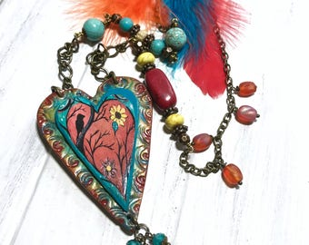 Bohemian Necklace, Long Beaded Boho Necklace, Feather Necklace, Bird Jewelry, Art To Wear,  Hippie Jewelry, Festival Necklace, Large Pendant