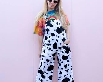 DESERT FOX Cow Print Faux Fur Wide Leg Dungarees