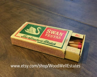On Sale RARE Swan Vestas Matches - The Smokers Match British Made - Bryant & May Ltd By Appointment to H.M. The Queen