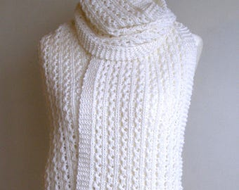 White Pure Wool Lace Rib Scarf - 'Alice'.