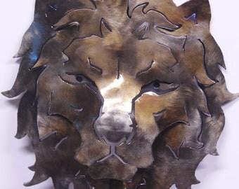 metal lion head sculpture