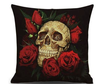 Gothic Halloween Skull with Red Roses Printed Cushion on Black Background