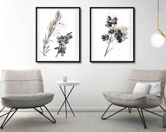 Gray wall art | Etsy