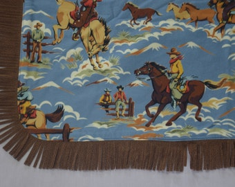 Baby Boy Blanket, Cowboy Retro Print, Country Western Napping Blanket, Baby Gift, Texas Rodeo Print, Faux Suede Fringe
