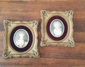 Antique Wood Frames with pair of Female Victorian Portraits in Oval Bubbled Glass with red velvet trim