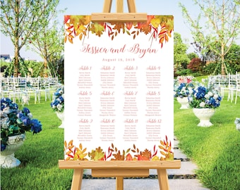 Autumn fall wedding seating chart, wedding seating plan, table plan template, autum fall leaves watercolor, rustic wedding