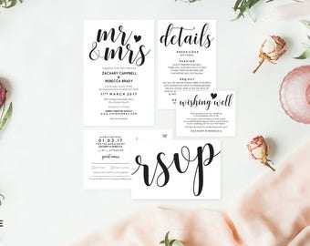 Mr and mrs wedding invitation pdf, Editable invitation, Editable wedding invitation template, Rustic wedding suite, Instant download