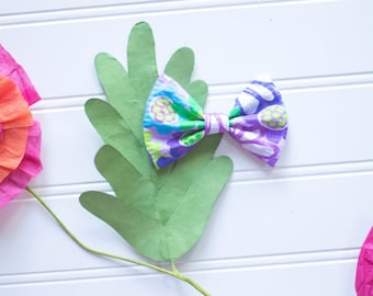 Floral bow //Purple and green floral // summer //