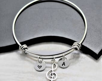 Treble Clef Bracelet - Music Lover Gift - Treble Clef Jewelry - Music Note Jewelry - Music Note Bangle Bracelet - Silver Music Bracelet