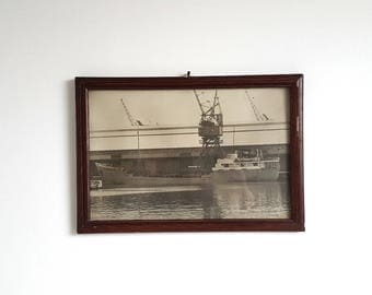 Old picture frame with photo of cargo ship 'Leendert B' * old photo frame * wood frame * cargo ship picture * industrial picture