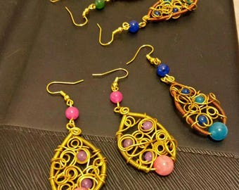 boho wires and glass beads earring