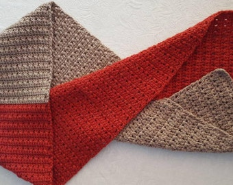 Classic Two Tone Men's Scarf in Brick Red and Stone