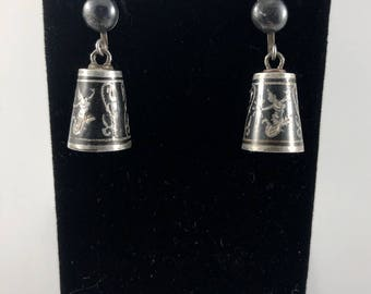 Vintage Sterling Silver Siam Earrings
