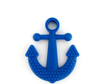Teething toy, silicone toy, chew toy for babies, pacifier clip attachement, navy blue anchor