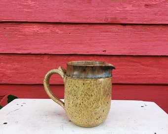 Golden Yellow Stoneware Pitcher with Handle