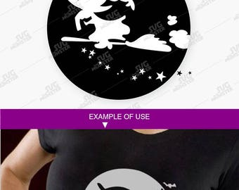 Witch Silhouette SVG - halloween svg Witch SVG Halloween SVG Halloween cut file Witch moon svg Witch Halloween svg Cricut, Silhouette 289