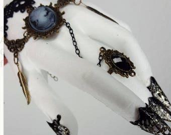 Beautiful bracelet Gothic Lolita style chain bracelet curlicue black and bronze antique