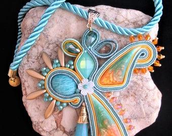 soutache pendant orange teal, soutache, soutache necklace, soutache pendant, soutache jewelry, handmade necklace, soutache embroidery
