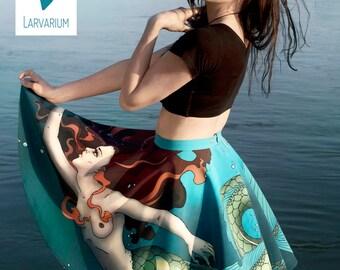 MERMAID SKIRT, circle skirt, tulle petticoat, party skirt, summer skirt, high waisted, made to measure, fantasy, siren, sea, ocean skirt