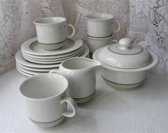 Arabia Finland: A Set Of ARCTICA SEITA Series Four Coffee Cups, Four Saucers, Four Bread Plates, A Creamer And A Sugar Container