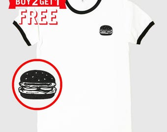 Hamburger Embroidered Ringer T-Shirt by 24PlanetsStudio