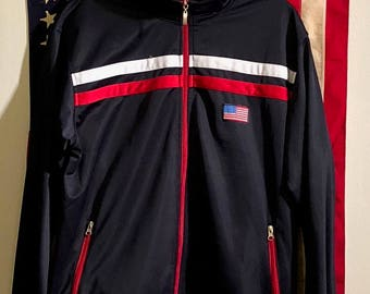 Vintage 90's Team USA Olympics Men's Retro Track Jacket (Large)