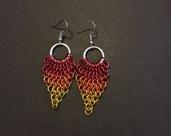 Fall/Flame Colors Chainmail Dangling Earrings