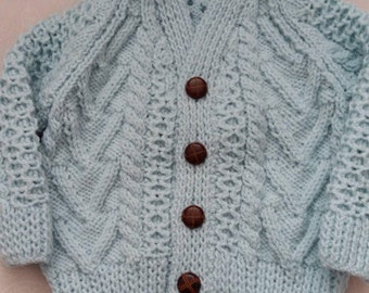Hand knitted boys aran cardigan