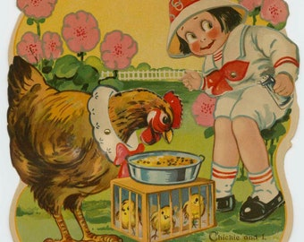 """Large Vintage  """"Chickie and I"""" Mechanical Easter Card"""