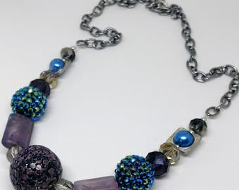 Purple Beaded Chain Necklace