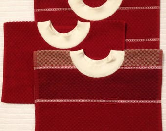 Adult Towel Bib - Festive Cranberry - Checkered Terrycloth PULLOVER Bib - Acid Reflux - Special Needs - Fastener-Free Bib - Big Kid Bib