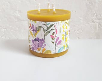 Beeswax candle-pillar candle- beeswax candles uk-large beeswax candle-handmade candle-relaxation gift-aromatherapy candle-beeswax pillar