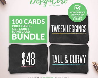 Sizing, Pricing & Name Cards Bundle, Home Office Approved, Simple Chalkboard, Size Signs, Price, Print, Instant Download, Fashion, DCNPS004