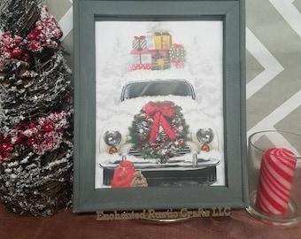 Christmas Truck, 8x10, Holiday Truck, 8x10, Framed, Christmas Gift, Vacation, Wall Art, Christmas Decor, Christmas sign, Wall Hanging, xmas