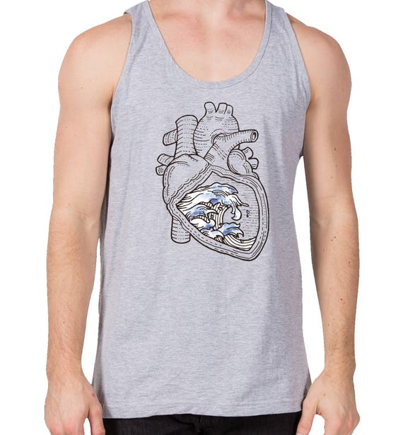 Ocean Heart | Lightweight fashion tank for men | Graphic tank top | Tattoo style | Original Artwork | Pen and Ink Waves | Anatomical Heart |
