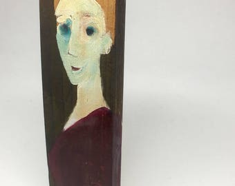 Painting on wood, decorative gift - wooden hair woman