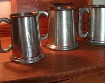 Three Vintage English Beer Pewter Tankards
