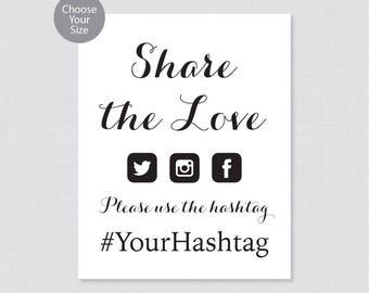Printable Wedding Hashtag Sign - Black and White Wedding Hashtag Sign - Share the Love Sign, Simple Calligraphy Wedding Photo/Pictures 0005