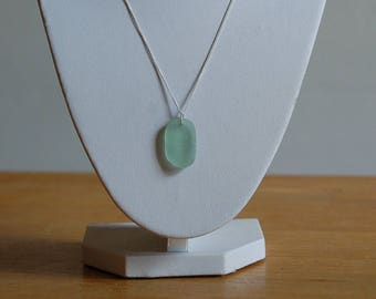 Turquoise Sea Glass Necklace on Silver Chain - Yorkshire Sea Glass