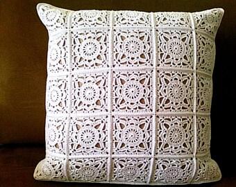 White crochet pillow cover Boho crochet pillow cover 16x16 pillow boho Crochet cushion Accent pillow Boho pillow Throw pillow Crochet boho