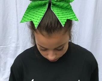 Green Ruffles Cheer Bow