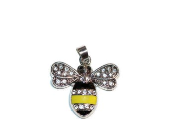 Charm Bumble Bee Charm Yellow and Black Enamel Honey Bee with Rhinestones Bumble Bee Pendant Silver Tone Honey Bee with Crystals Best Seller