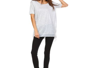 Women's Grey Slub Tunic, Side Slit, Scoop Neck, Contrast, Size S M L - Made in USA