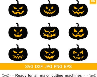 Pumpkin faces clipart,scary pumpkin svg, Halloween pumpkin svg, halloween svg,Jack O Lantern SVG, Cricut download svg jpg png dxf Silhouette