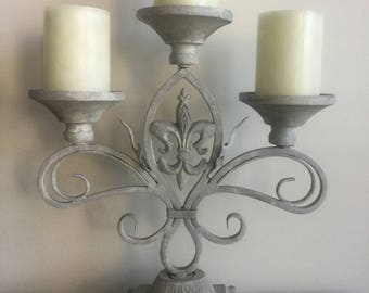 Candelabra ~ Fleur de Lis ~ French Country / French Provincial 3 Arm Pillar Candle Holder ~ Unity Candle ~ Wedding Centerpiece ~ Cast Iron